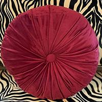 Tuffted Round Velvet Pillow by Sourpuss - Burgundy