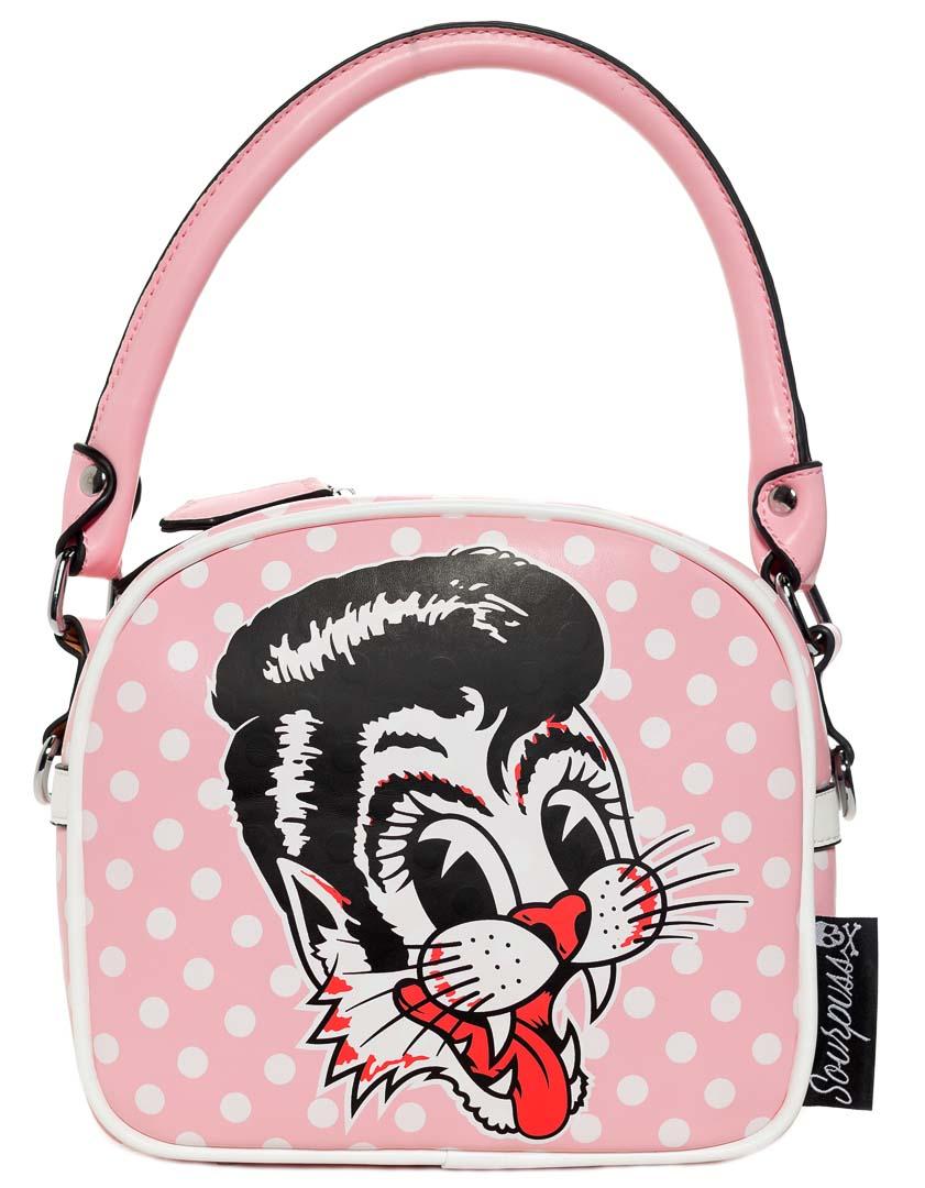 Stray Cats Pink Polka Dot Purse by Sourpuss