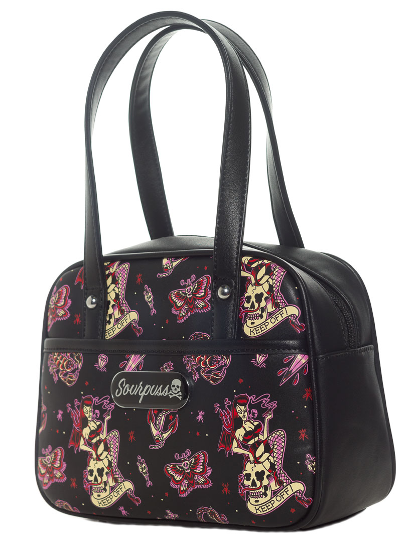 Mini Bowler Purse by Sourpuss - Keep Off Pin Up Flash - SALE