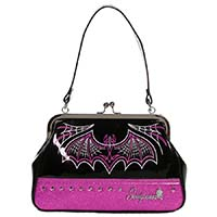Batty Pinstripe Purse in by Sourpuss - in Pink