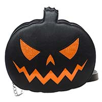 Sparkle Pumpkin Purse in Black by Sourpuss
