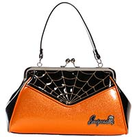Backseat Baby Kisslock Web Purse in Halloween Orange & Black by Sourpuss