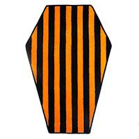 Black & Orange Striped Coffin Rug by Sourpuss