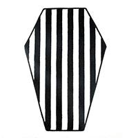 Black & White Striped Coffin Rug by Sourpuss