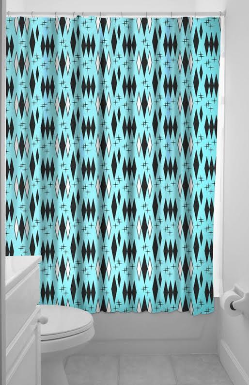 Sourpuss 50's Retro Diamond Shower Curtain - in aqua