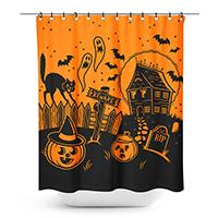 Sourpuss Haunted House Print Shower Curtain