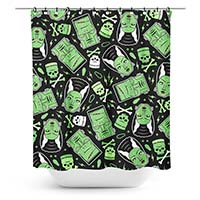The Monsters Shower Curtain by Sourpuss