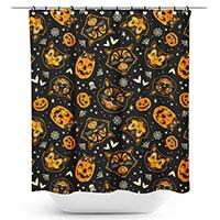 Sourpuss Classic Hallowen Print Shower Curtain