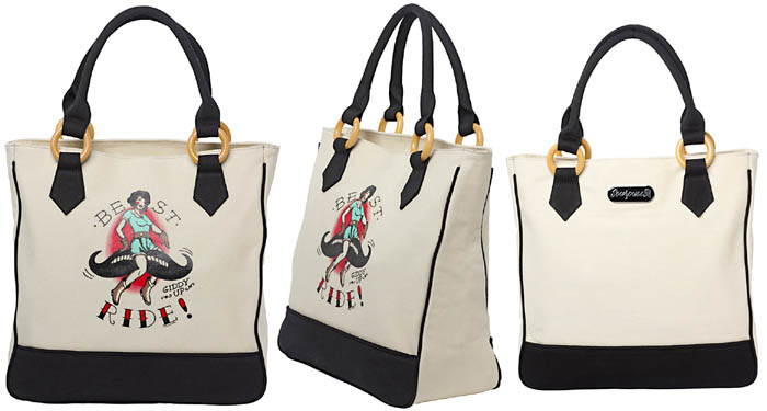 Best Ride Pinup Cowgirl Canvas Tote Bag by Sourpuss - SALE