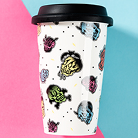 Hot or Cold Drink Tumbler from Sourpuss - Glo Skullz - SALE