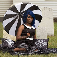 Pagoda Vintage Style Umbrella from Sourpuss in Black & White