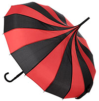 Pagoda Vintage Style Umbrella from Sourpuss in Black & Red