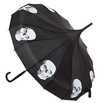 Pagoda Vintage Style Umbrella from Sourpuss - Skulls