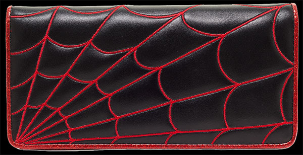 Red Spiderweb Clutch Wallet by Sourpuss