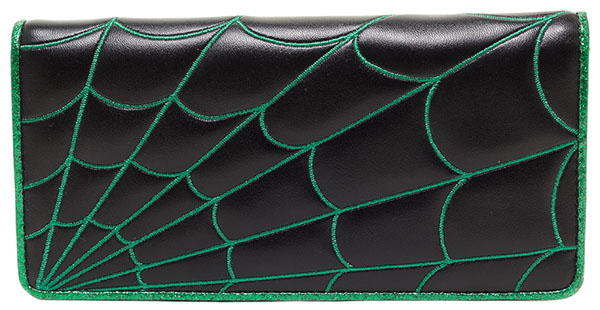 Green Spiderweb Clutch Wallet by Sourpuss