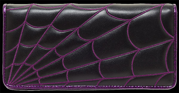 Purple Spiderweb Clutch Wallet by Sourpuss