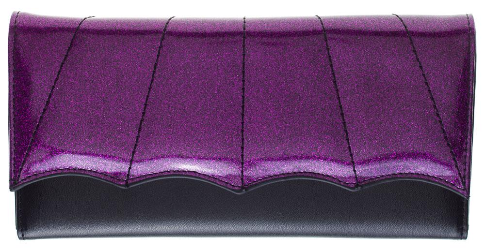 Bat Wing Wallet by Sourpuss - Black/Purple - SALE