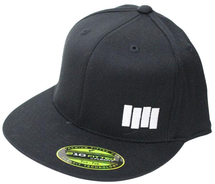 Black Flag- Bars embroidered on front, Logo embroidered on back on a black flex fit baseball hat