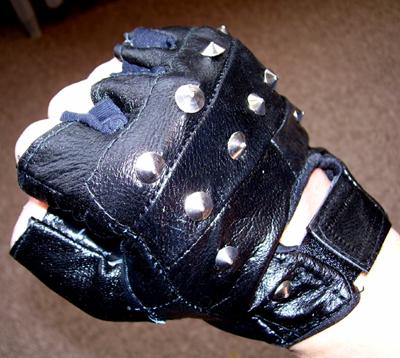 Black Leather Studded Fingerless Gloves