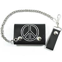 Peace Sign On A Black Leather Wallet (Comes With Chain)