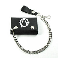 Anarchy (White) On A Black Leather Wallet (Comes With Chain)