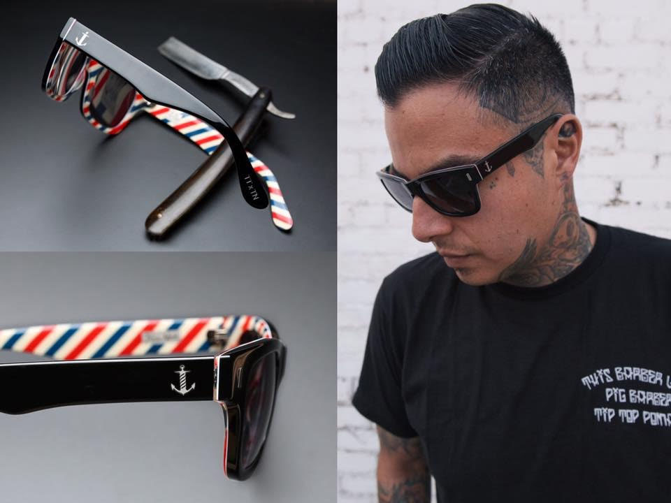 Tip Top Tried & True Barber Stripe Sunglasses by Tres Noir- limited edition