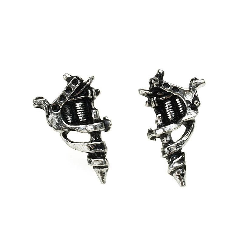 Tattoo Gun Pewter Stud Earrings -by Alchemy England 1977 - SALE