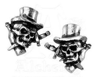 Live Now Die Later Top Hat Skull Pewter Stud Earrings -by Alchemy England 1977 - SALE