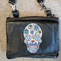 Sugar Skull Soft Leather Clip On Bag by Unik Leather