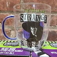Beetlejuice- I Myself Am Strange And Unusual 14oz Glass Mug With Glitter Filled Handle