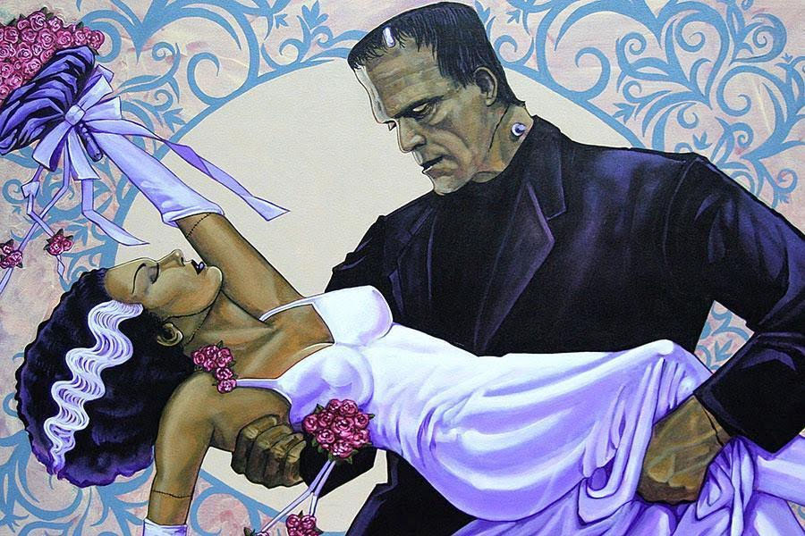 The Wedding - Bride & Frankenstein Mike Bell -  Fine Art Print