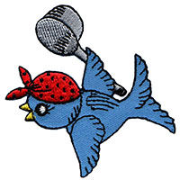 Bluebird embroidered patch (Berg art) (ep223)