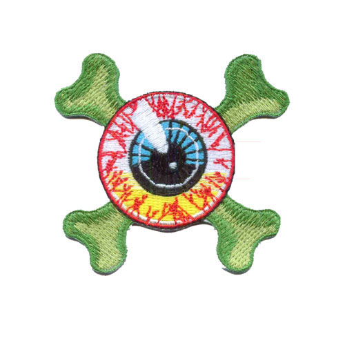 Eyeball & Crossbones Embroidered Patch by Kreepsville 666 (ep472) - SALE