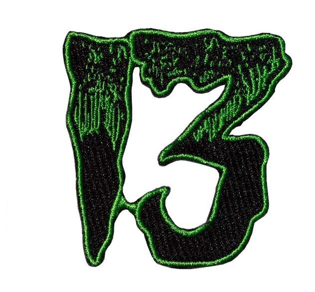 Unlucky 13 Embroidered Patch by Kreepsville 666 - Green (ep687)
