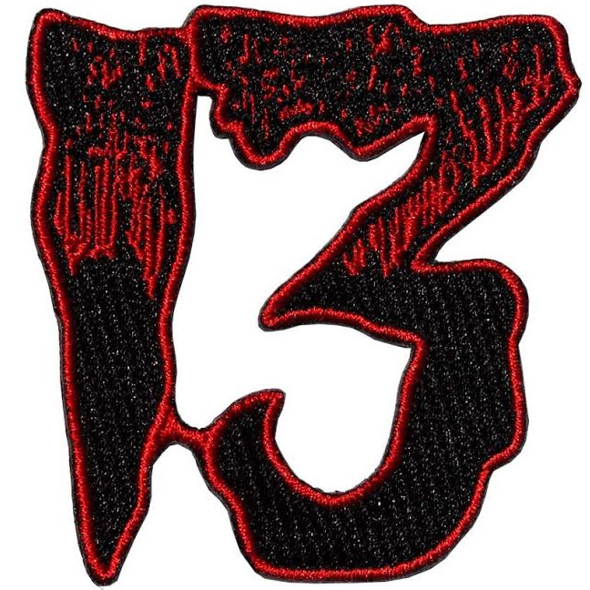 Unlucky 13 Embroidered Patch by Kreepsville 666 - Red (ep688)