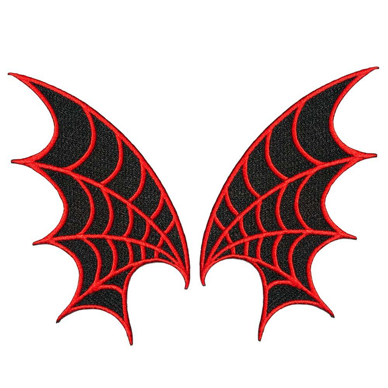 Web Wings - Embroidered Patch Set by Kreepsville 666 - in red (EP857)