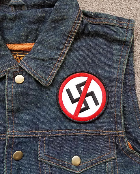Anti Nazi- Crossed Out Swastica Embroidered Patch