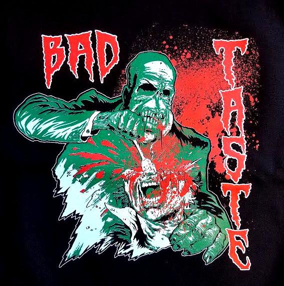 Bad Taste- Dig In on a black shirt