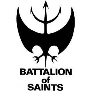 Battalion Of Saints- Bat (White) cloth patch (cp238)