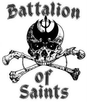 Battalion Of Saints- Skull & Crossbones (White) cloth patch (cp287)