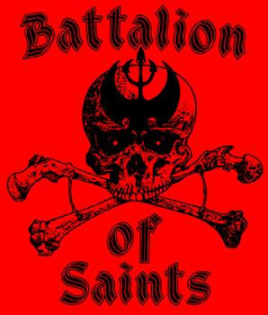 Battalion Of Saints- Skull on a red back patch (bp471)