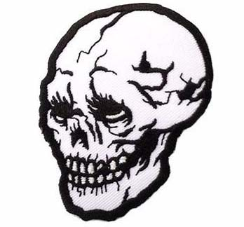 Black & White Skull Embroidered Patch by Scumbags & Superstars (ep276)