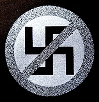 Crossed Out Swastika cloth patch (cp896)