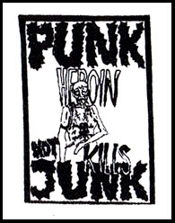 Punk Not Junk, Heroin Kills cloth patch (cp914) (Natural Patch)