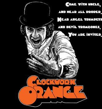 Clockwork Orange- Come With Uncle on a black shirt