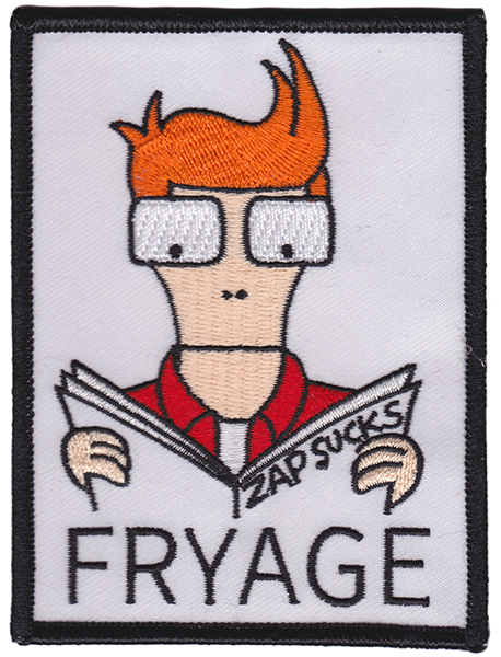 Fryage (Futurama) Zap Sucks Embroidered Patch by Thrillhaus (EP737)