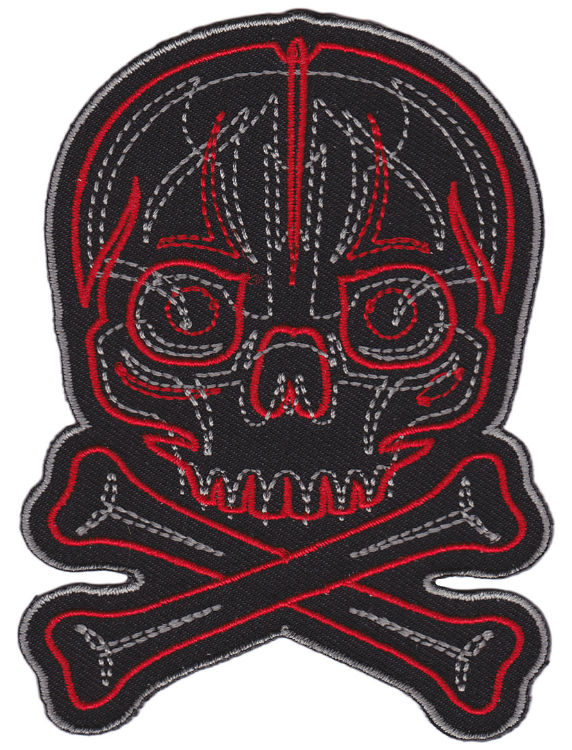 Kustom Kreeps Pinstriped Skull Embroidered Patch  - from Sourpuss (EP797)