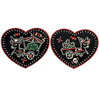 Los Donkeys Embroidered Heart Patch Set by Lucky 13 (EP1048)