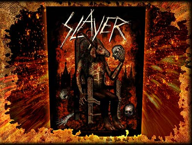Slayer- Devil On Throne Sewn Edge Back Patch (bp34)