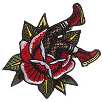 Combat Boots & Roses Embroidered Patch by Sourpuss (ep216)